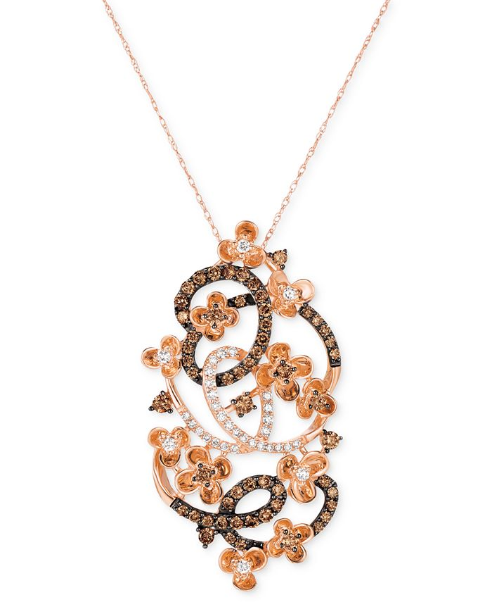"""Le Vian - Crazy Collection® Diamond Fancy Scroll Floral 18"""" Pendant Necklace (1-1/5 ct. t.w.) in 14k Rose Gold"""
