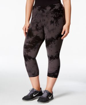 Calvin Klein Performance Plus Size Printed Cropped Leggings, Only at Macy's
