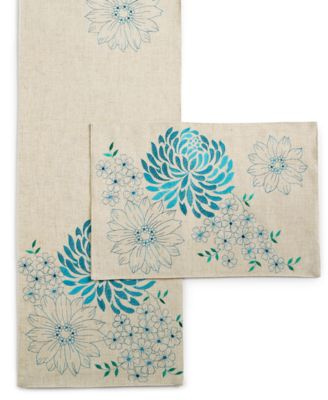 "Homewear Spring Sketch Table Linens Collection 90"" Teal Table Runner"
