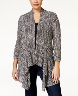 American Rag Trendy Plus Size Crochet-Back Marled Cardigan, Only at Macy's