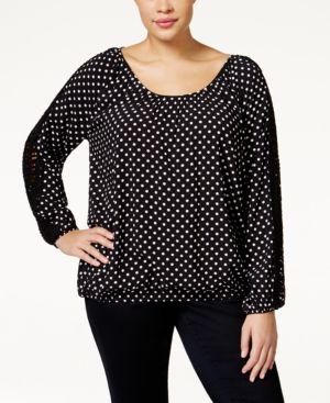 American Rag Plus Size Dot-Print Blouson Top, Only at Macy's