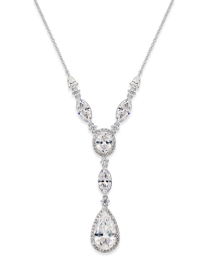 Eliot Danori - Silver-Tone Crystal Lariat Necklace