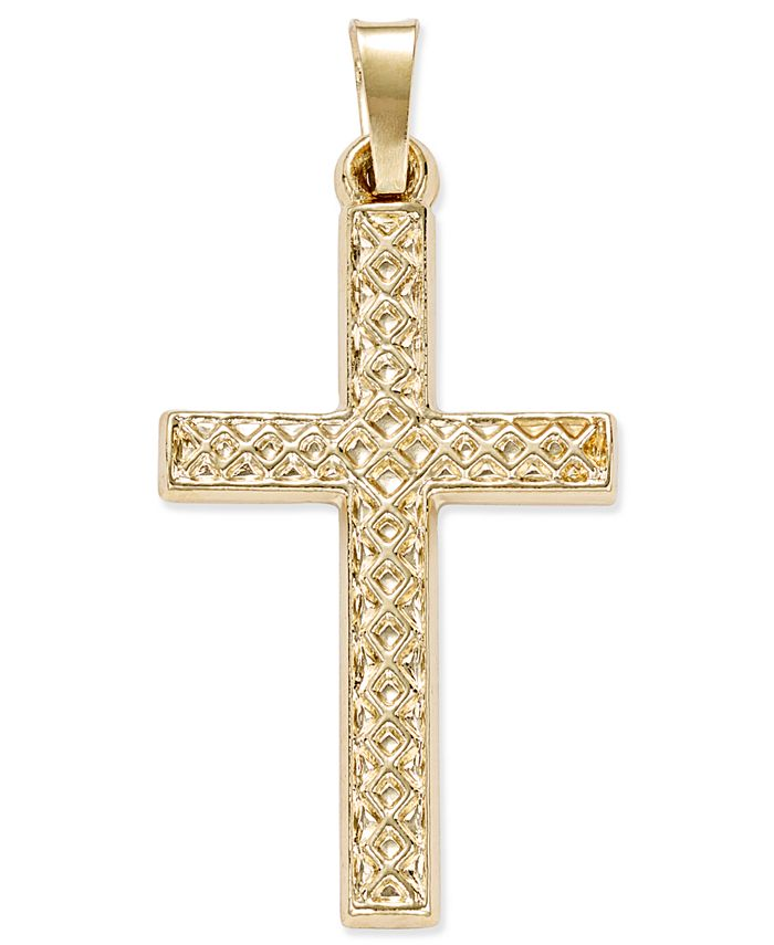 Macy's - Patterned Square Cross Pendant in 14k Yellow Gold