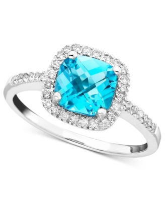 14k White Gold Blue Topaz (1-3/8 ct. t.w.) & Diamond (1/5 ct. t.w.) Ring