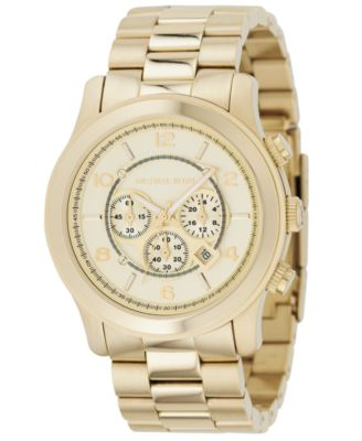Michael Kors Watch Mens Runway Gold-Tone Stainless Steel Bracelet 44mm MK8077