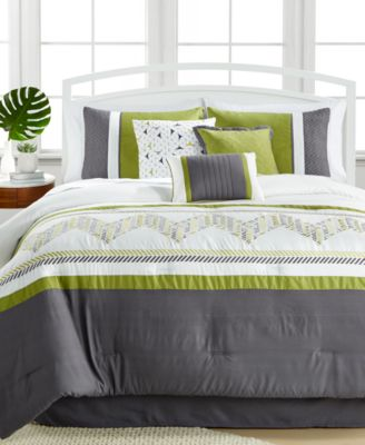 Lemoore Green 7-Pc. Embroidered Queen Comforter Set