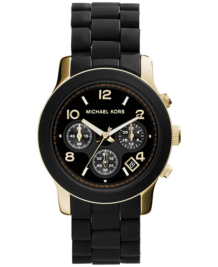Michael Kors - Women's Chronograph Runway Gold-Tone Stainless Steel and Black Polyurethane Bracelet Watch 38mm MK5191