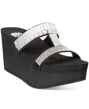 Yellow Box Anja Rhinestone Wedge Sandals Women's Shoes