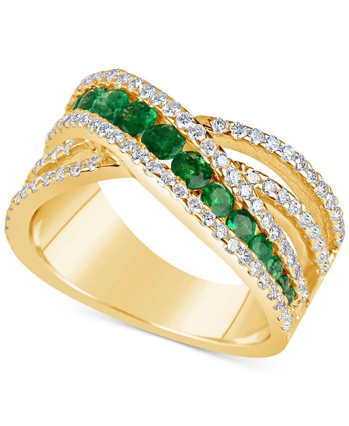 Macy's - Emerald (9/10 ct. t.w.) and Diamond (3/4 ct. t.w.) Crisscross Ring in 14k Gold