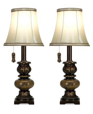 StyleCraft Set of 2 Trieste Marble-Accent Table Lamps