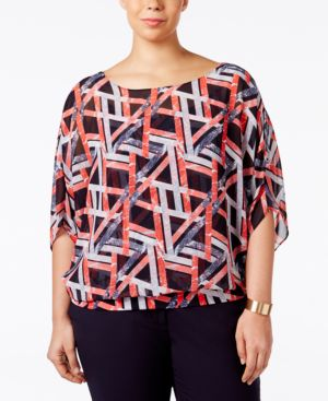 Alfani Plus Size Chiffon Blouson Top, Only at Macy's