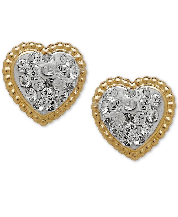 Macy's - 14k Gold Earrings, Crystal Heart Earrings