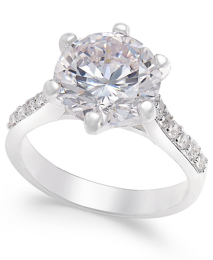 Charter Club - Silver-Tone Round Crystal Ring