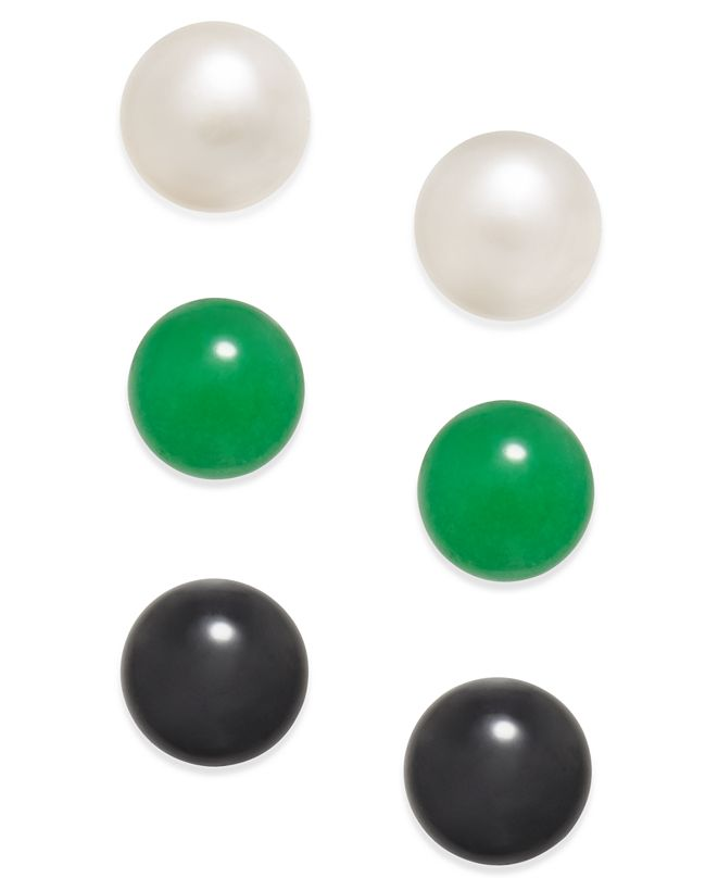 Macy's 3 Pc. Set Cultured Freshwater Pearl (8mm), Onyx (8mm) and Green Quartz (8mm) Stud Earrings in Sterling Silver