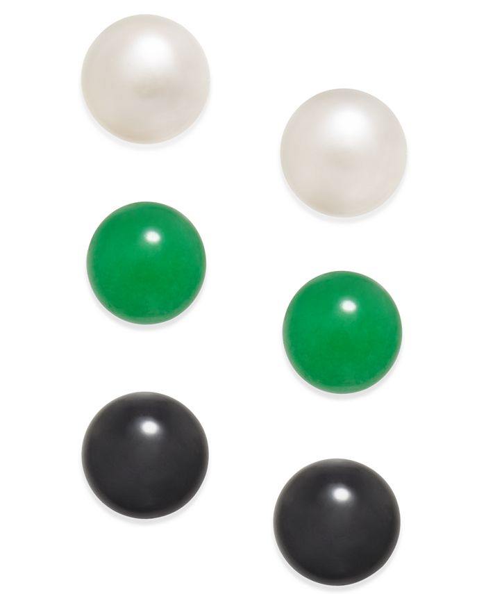 Macy's - 3 Pc. Set Cultured Freshwater Pearl (8mm), Onyx (8mm) and Green Quartz(8mm) Stud Earrings in Sterling Silver