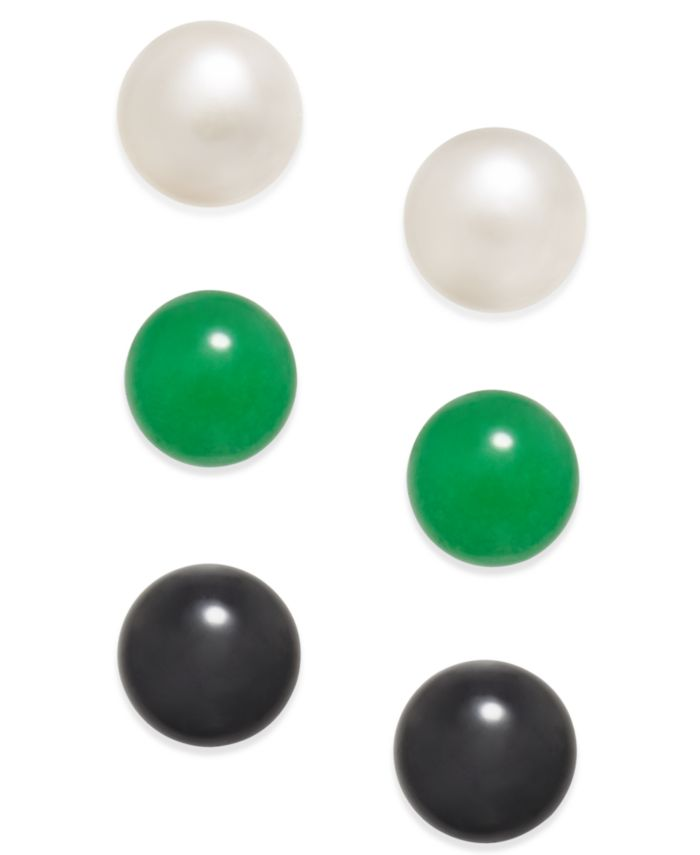 Macy's 3 Pc. Set Cultured Freshwater Pearl (8mm), Onyx (8mm) and Green Quartz (8mm) Stud Earrings in Sterling Silver & Reviews - Earrings - Jewelry & Watches - Macy's