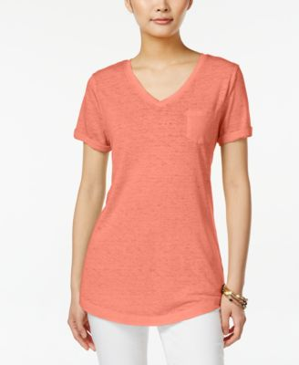 Image of Style & Co. V-Neck Burnout Pocket Tee, Only at Macy's
