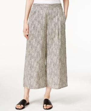 Eileen Fisher Petite Printed Cropped Wide-Leg Pants plus size,  plus size fashion plus size appare