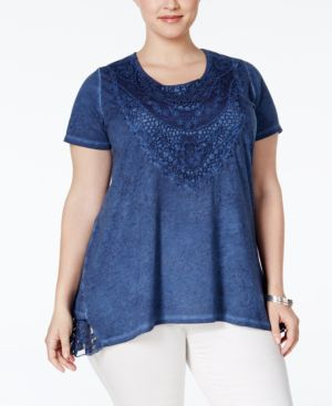 Style & Co. Plus Size Lace Burnout Blouse, Only at Macy's