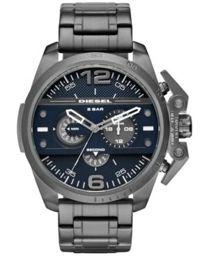 Diesel Men's Chronograph Ironside Gunmetal Ion-Plated Stainless Steel Bracelet Watch 55x48mm DZ4398