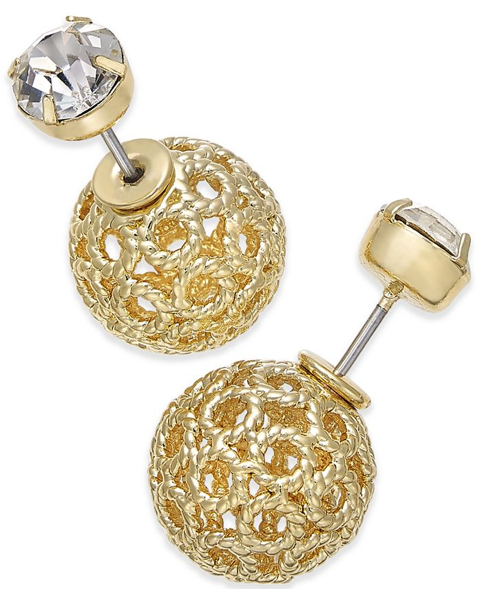 INC International Concepts - Gold-Tone Filigree Spheres and Crystal Stud Reversible Earrings