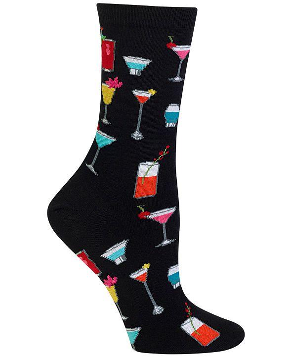 Hot Sox Women's Tropical Drinks Fashion Crew Socks