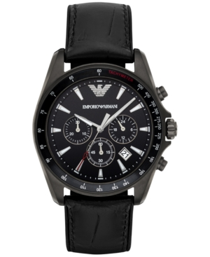 Emporio Armani Men's Chronograph Sigma Black Leather Strap Watch 44mm AR6097