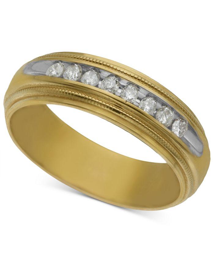Macy's - Men's Diamond Wedding Band (1/5 ct. t.w.) in 14k Gold