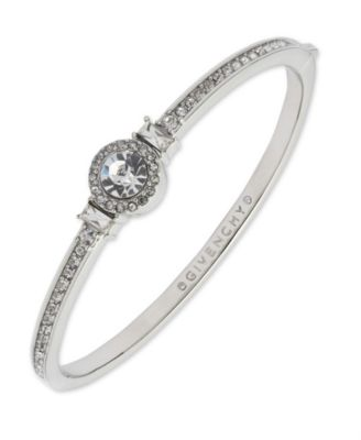 Silver-Tone Round Crystal and Pavé Hinged Bangle Bracelet