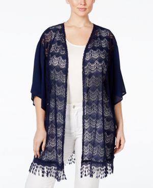 Stoosh Trendy Plus Size Lace Fringe Kimono Cardigan