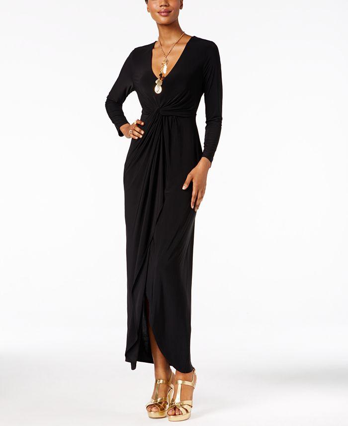 Thalia Sodi - Long-Sleeve High-Low Maxi Dress