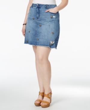 Nanette by Nanette Lepore Plus Size Rhinestone Denim Skirt,  Only at Macy's plus size,  plus size fashion plus size appare