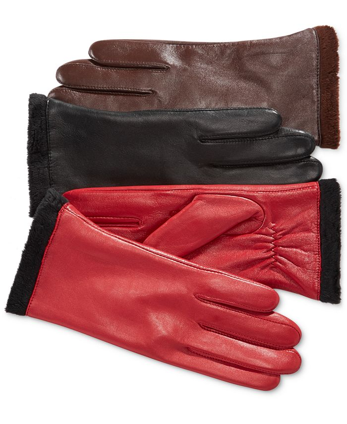 Charter Club - Micro Faux Fur Lined Leather Tech Gloves