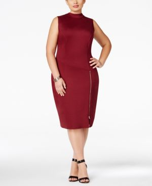 Love Squared Plus Size High-Neck Zipper Bodycon Dress