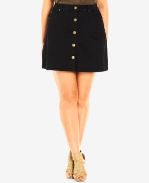 City Chic Plus Size Black Wash Button-Front Denim Skirt plus size,  plus size fashion plus size appare