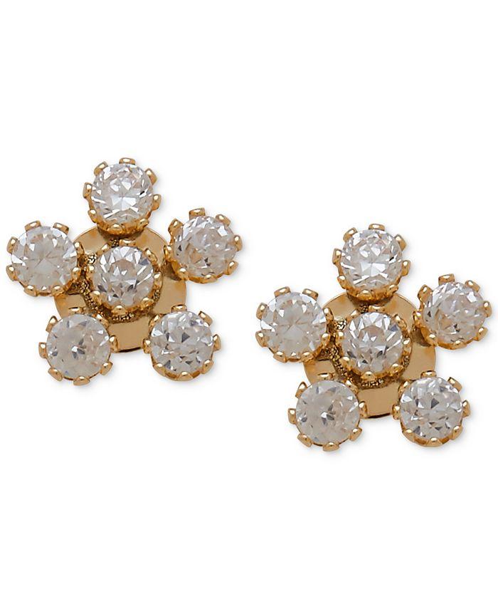 Macy's - Cubic Zirconia Flower Stud Earrings in 14k Gold