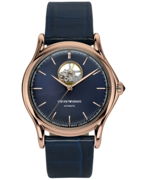 Emporio Armani Men's Swiss Automatic Classic Blue Leather Strap Watch 42mm ARS3302