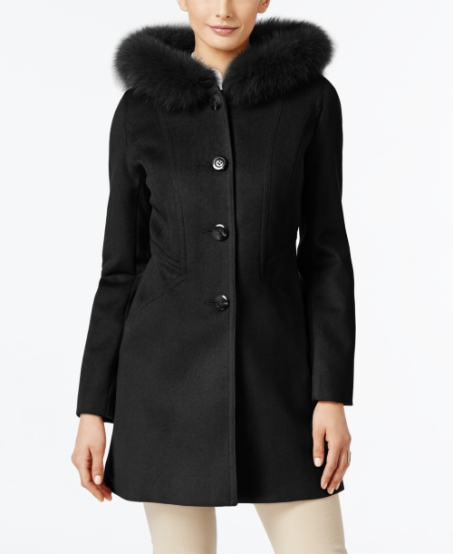 Forecaster Fox-Fur-Trim Hooded Walker Coat, Only at Macy's