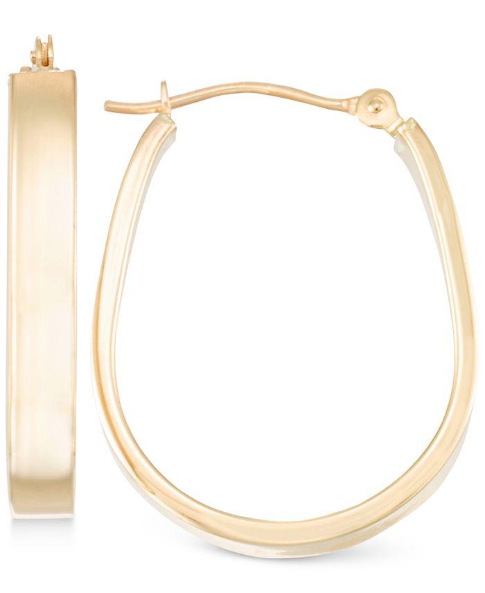 Macy's - Polished Pear-Shape Hoop Earrings in 10k Gold
