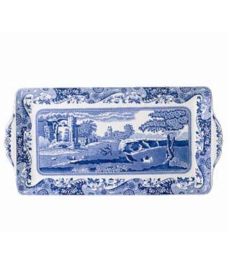 """Spode """"Blue Italian"""" Sandwich Tray, 13"""""""