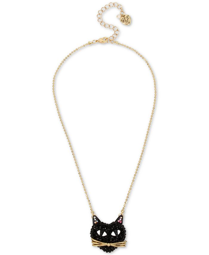 Betsey Johnson - Two-Tone Black Cat Pavé Pendant Necklace