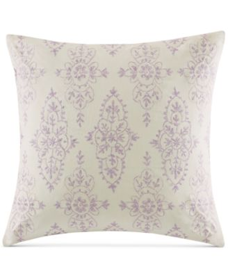 "Echo Florentina Embroidered Pink 18"" Square Decorative Pillow"