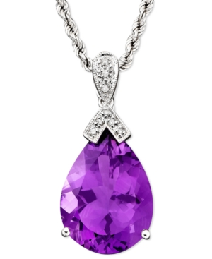 14k White Gold Amethyst (13 ct. tw.) & Diamond Accent Pendant
