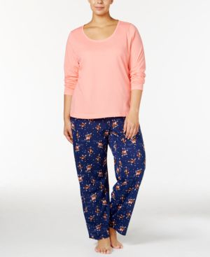 Jenni by Jennifer Moore Plus Size Knit Top and Printed Pants Pajama...
