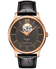 Tissot Men's Swiss Automatic Tradition Powermatic 80 Black Leather Strap Watch 40mm T0639073606800