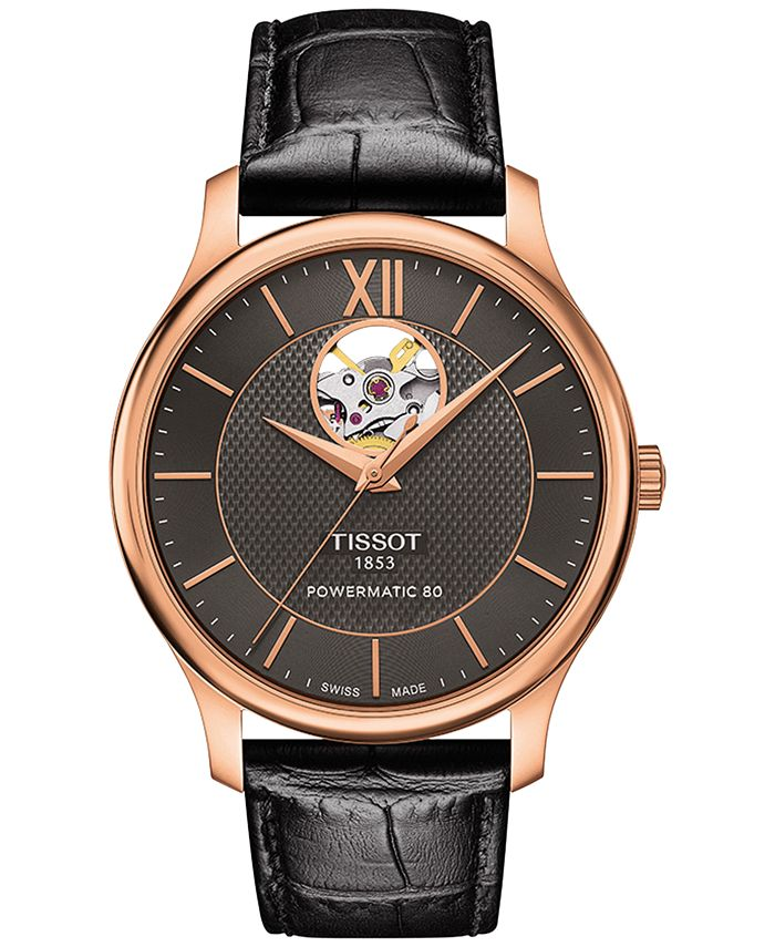 Tissot - Men's Swiss Automatic Tradition Powermatic 80 Black Leather Strap Watch 40mm T0639073606800