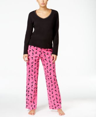 Image of Charter Club Knit Solid Top and Printed Pants Pajama Set, Only at Macy's