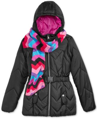 Image of S. Rothschild 2-Pc. Quilted Puffer Jacket & Scarf Set, Big Girls (7-16)