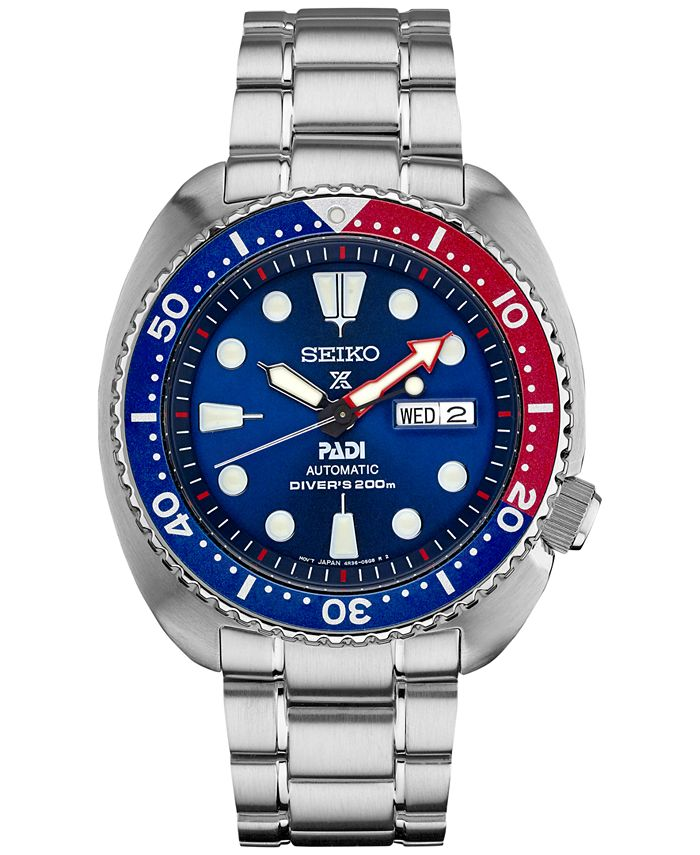 Seiko - Men's Automatic Prospex Diver PADI Stainless Steel Bracelet Watch 45mm SRPA21