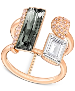 ... UPC 768549910906 product image for Swarovski Rose Gold-Tone Pvd Black  and Clear Crystal Statement 27e2a0f9fec8